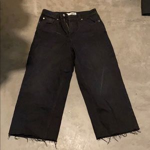 Topshop moto flared and cropped jeans.
